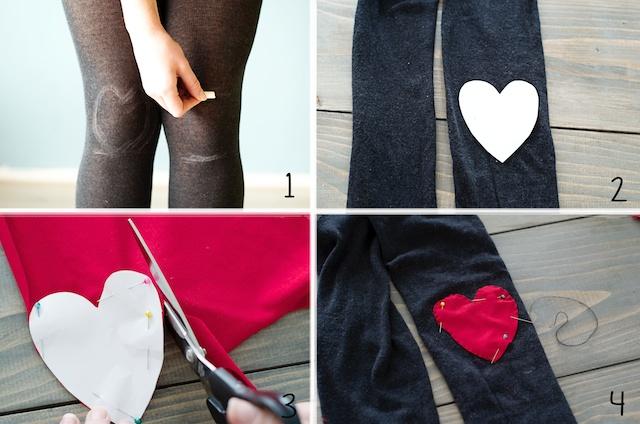 hartjes op kleding maken, hartjes op kleding naaien, hartjes op elleboog, hartjes op trui