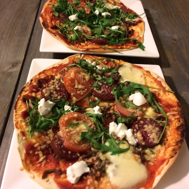 gezonde pizza's, pizza's van tortilla's, pizza minder calorieën, slanke pizza