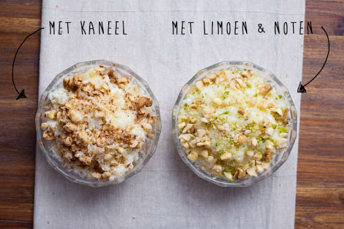 Rijstepap met limoen en noten