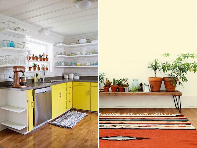 gele keuken, planten in huis