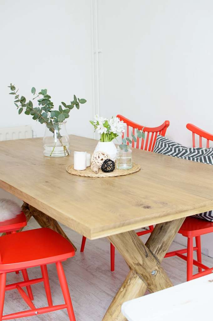 DIY eetkamertafel (van eikenhout)