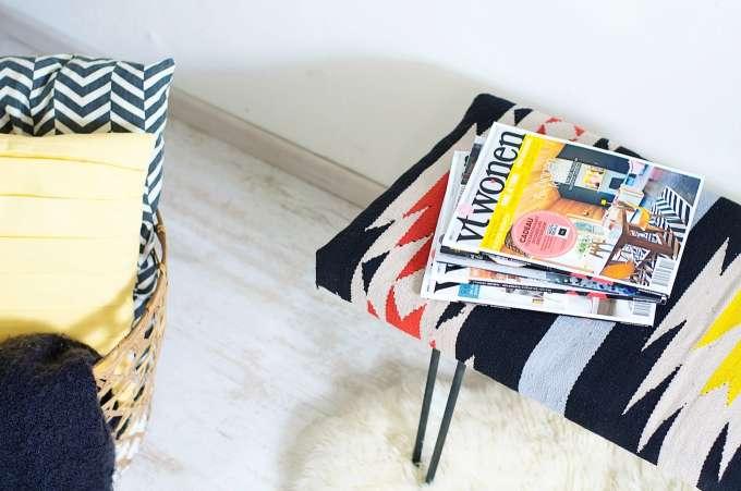 Houten Bankje Slaapkamer : DIY Kelim side bench • A Cup of Life