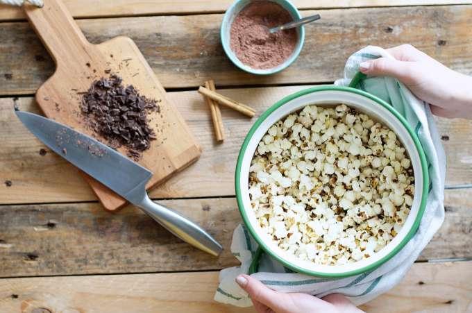 popcorn (3Warme chocoaldemelk popcorn