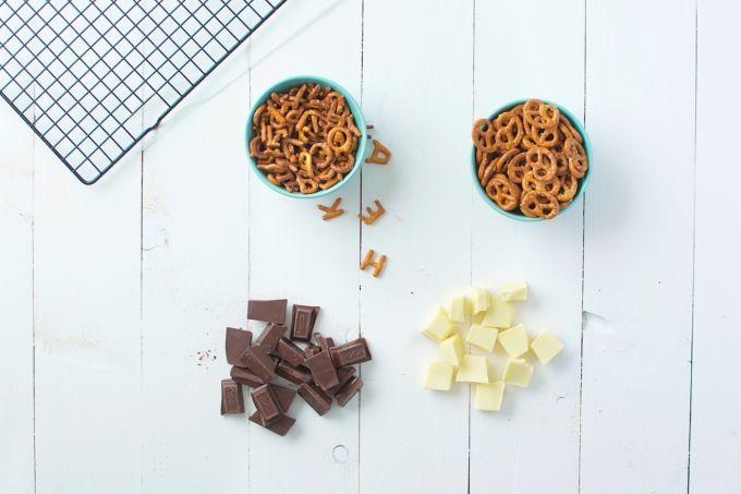 Pretzels met chocolade
