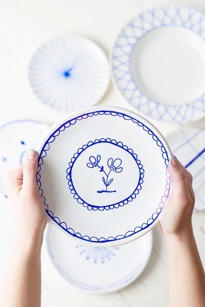 geverfde keramische borden