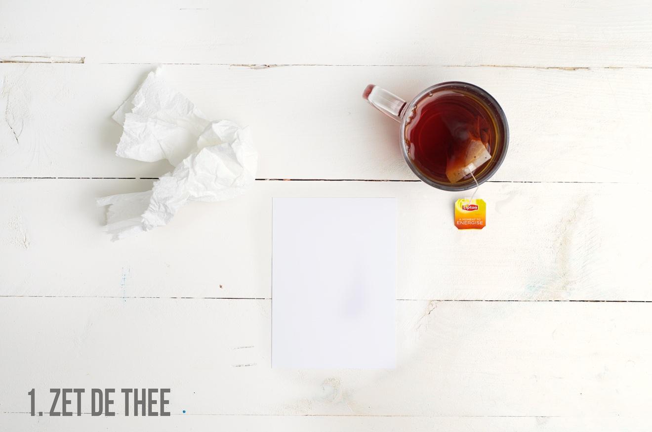 papier donker maken met thee1