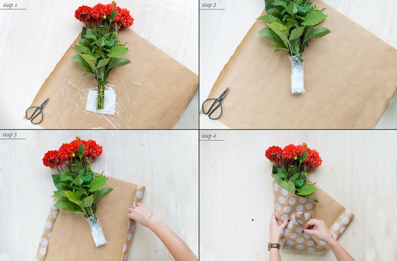 bloemen inpakken zoals een bloemist