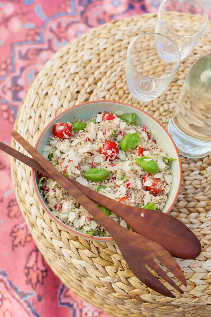Quinoa met feta en granaatappelpitjes