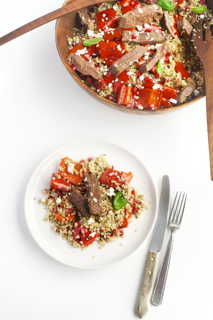 Gezonde bulgur salade met bieflap (laag in vet, súper gezond en zo lekker!)