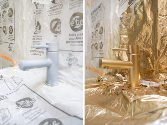 Vernieuw oude badkameraccesoires met goudspray a cup of life