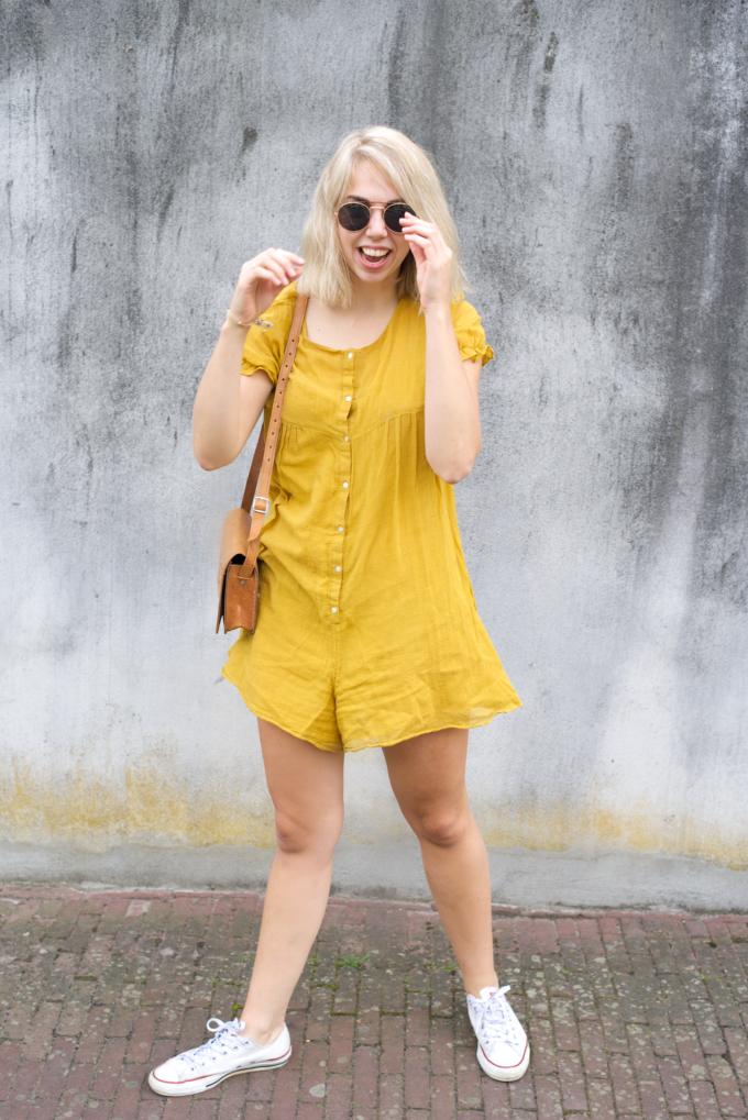 Zomer fashionshoot gele jurk zara (7)