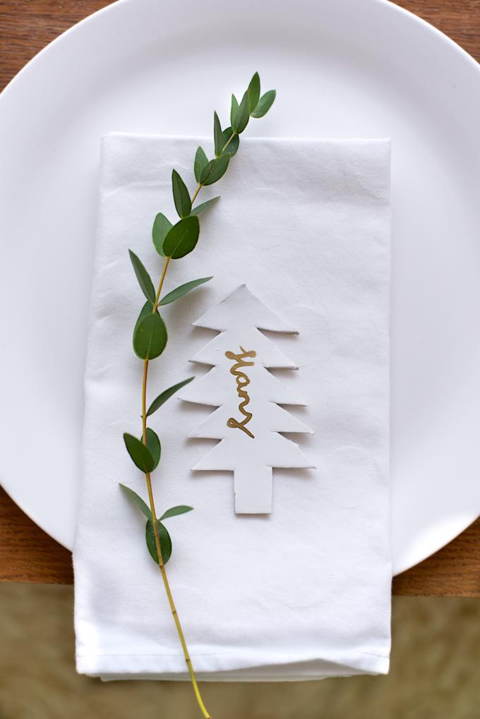 Kerstdiner naamkaartjes DIY