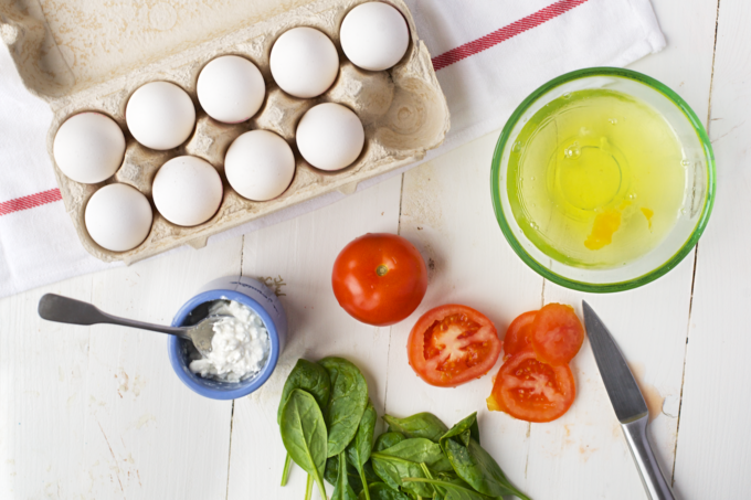 Eiwit omelet met spinazie en hüttenkase 1