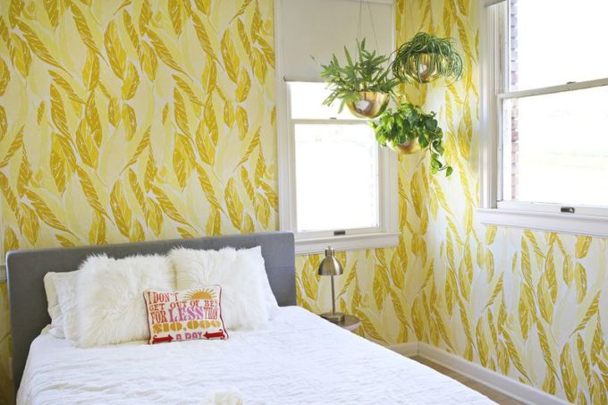 Wallpapered-guest-room-from-A-Beautiful-Mess