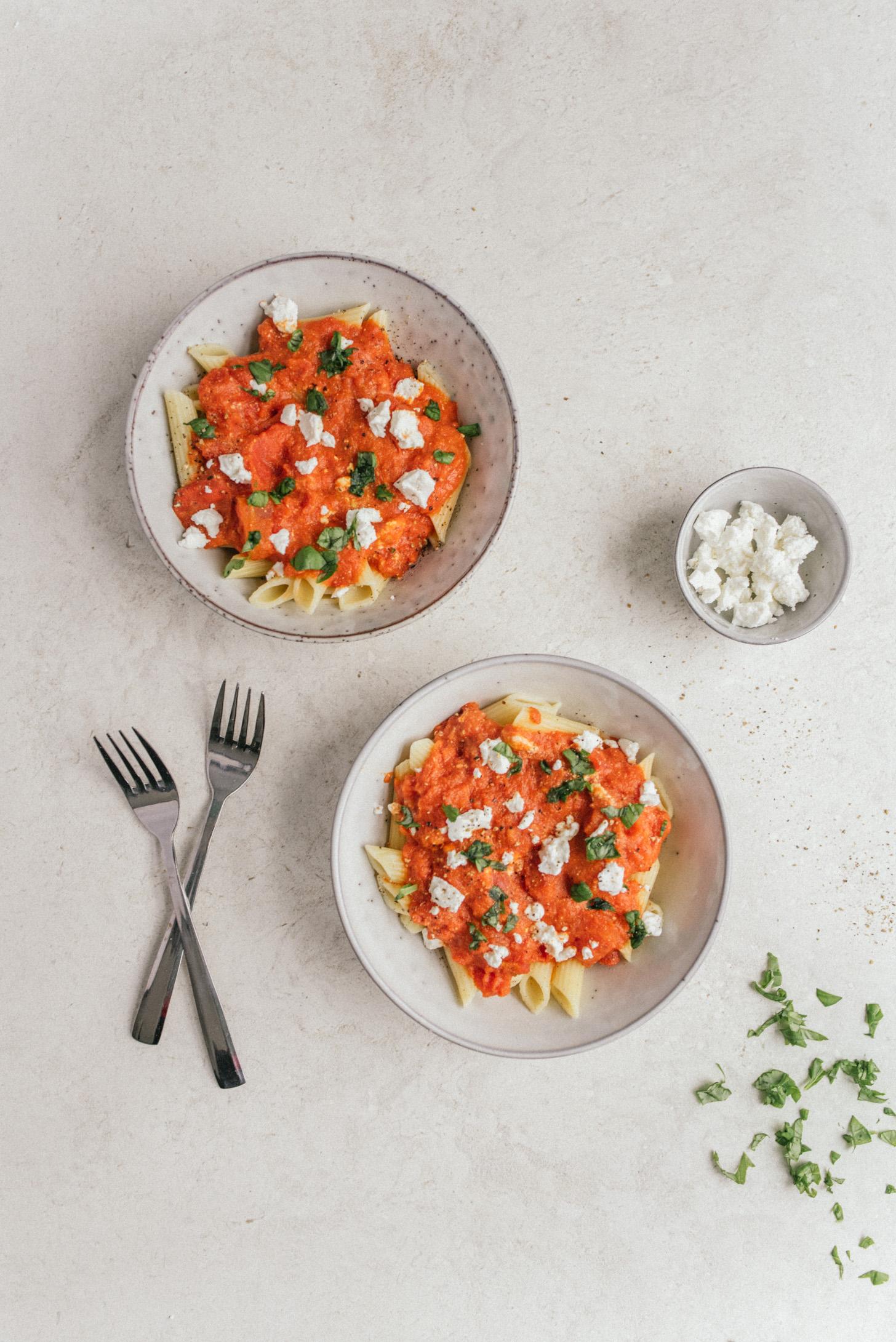 tomaten geitenkaas pasta kinderrecept